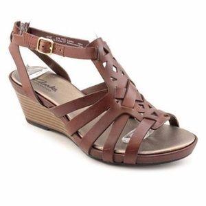 Clark's Lucia Coral Wedge Sandals, EUC